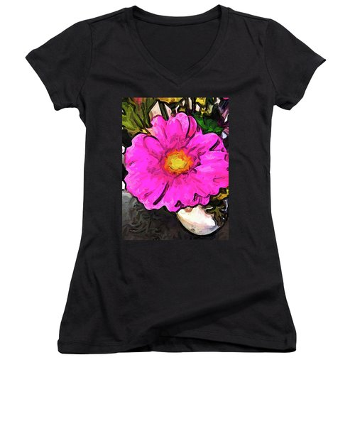 The Big Pink And Yellow Flower In The Little Vase Women's V-Neck (Athletic Fit)