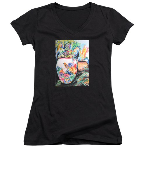 The Bird Flower Pot Women's V-Neck T-Shirt (Junior Cut) by Esther Newman-Cohen