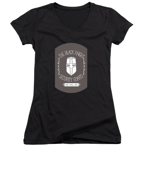 The Black Knight Women's V-Neck T-Shirt (Junior Cut) by Christopher Meade