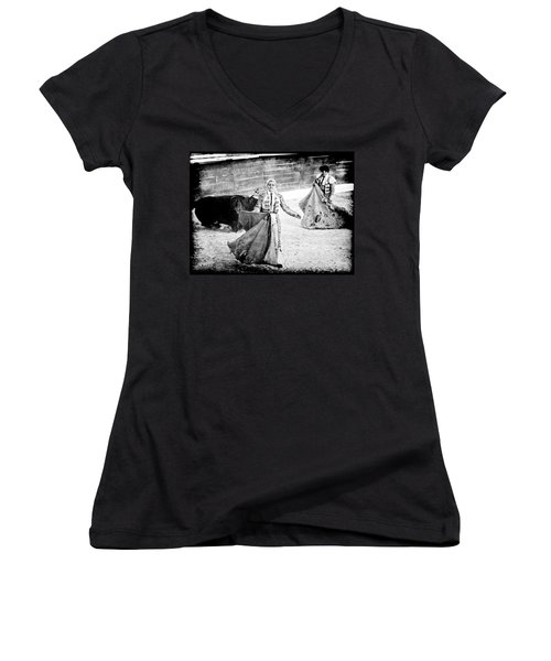 The Blond, The Bull And The Coup De Gras Bullfight Women's V-Neck (Athletic Fit)