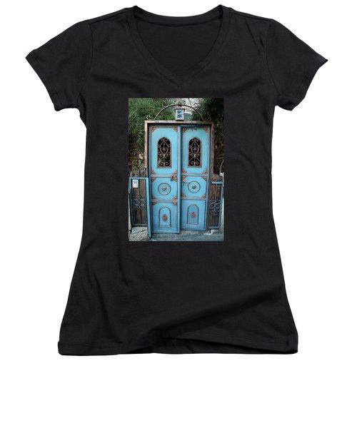 The Blue And Gold Door Of Jerusalem Women's V-Neck T-Shirt (Junior Cut) by Yoel Koskas