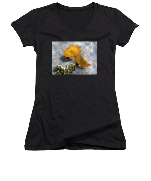 The Bluecheeked Butterflyfish Women's V-Neck (Athletic Fit)