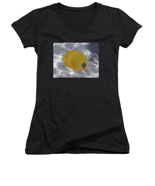 The Bluecheeked Butterflyfish Red Sea Women's V-Neck (Athletic Fit)