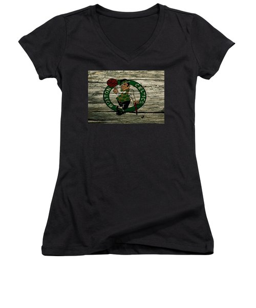 The Boston Celtics 2w Women's V-Neck T-Shirt (Junior Cut) by Brian Reaves