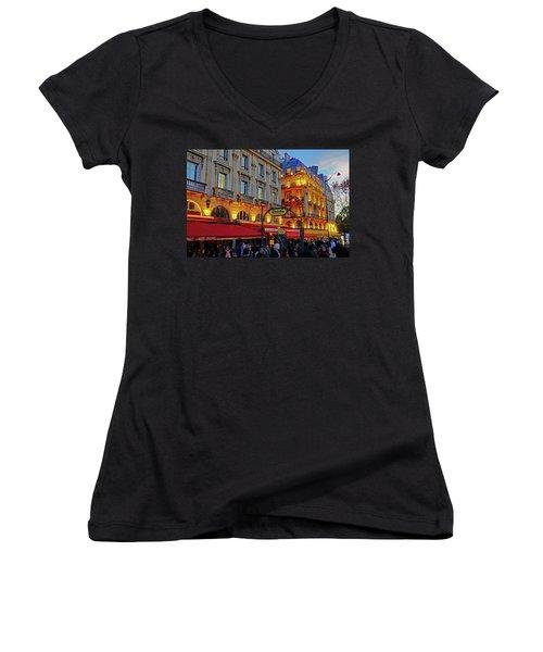 The Boulevard Saint Michel At Dusk In Paris, France Women's V-Neck T-Shirt