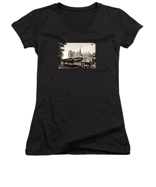 The Bouquinistes And Notre-dame Cathedral Women's V-Neck T-Shirt (Junior Cut) by Perry Van Munster