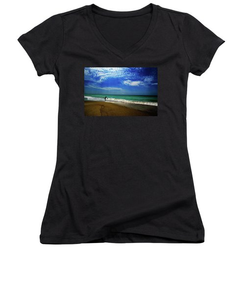Women's V-Neck T-Shirt (Junior Cut) featuring the photograph The Boy At The Beach  by John Harding
