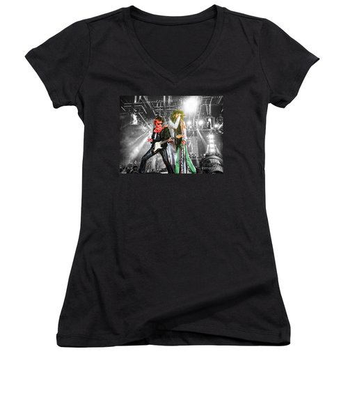 Women's V-Neck T-Shirt (Junior Cut) featuring the photograph The Boys by Traci Cottingham