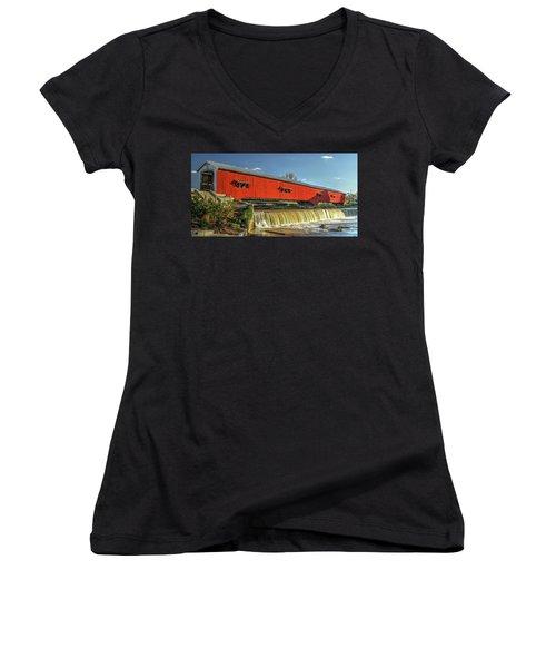 Women's V-Neck T-Shirt (Junior Cut) featuring the photograph The Bridgeton Covered Bridge by Harold Rau