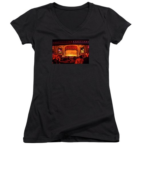 Women's V-Neck T-Shirt (Junior Cut) featuring the photograph The Byrd Theatre by Jean Haynes