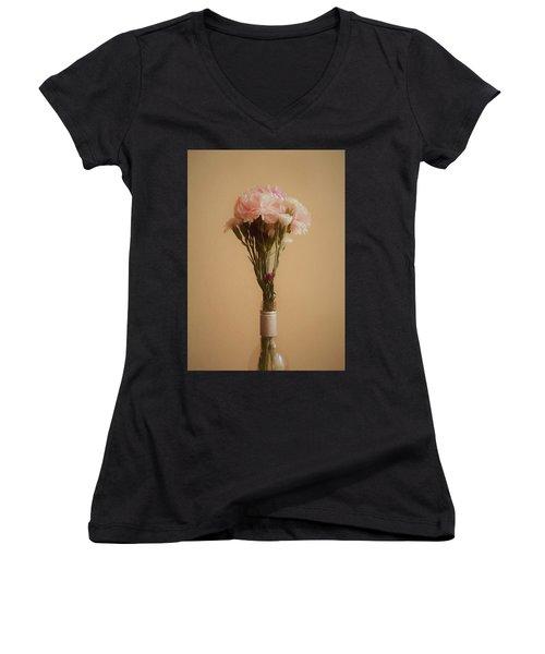 Women's V-Neck T-Shirt (Junior Cut) featuring the digital art The Carnations by Ernie Echols
