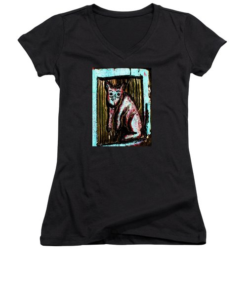 Women's V-Neck T-Shirt (Junior Cut) featuring the photograph The Cat by John King