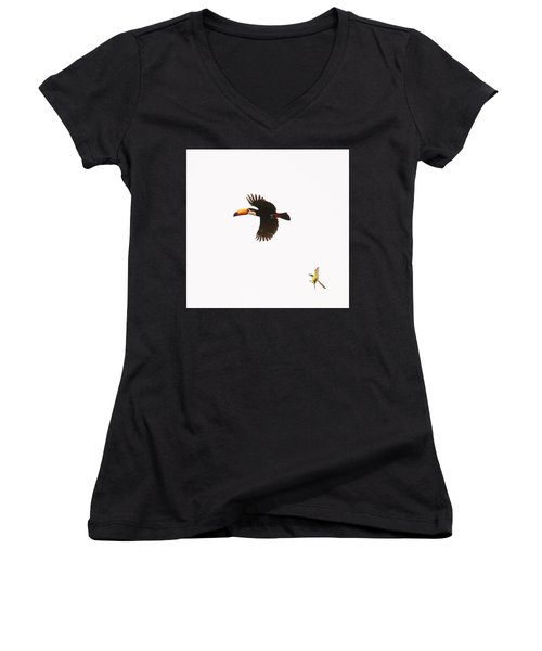Women's V-Neck T-Shirt featuring the photograph The Chase by Alex Lapidus