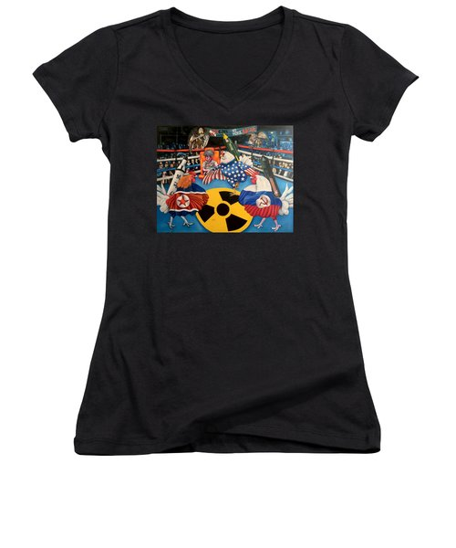 The Chickens Fight Women's V-Neck (Athletic Fit)