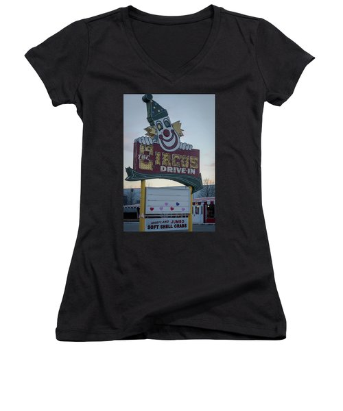 Women's V-Neck T-Shirt (Junior Cut) featuring the photograph The Circus Drive In Sign Wall Township Nj by Terry DeLuco