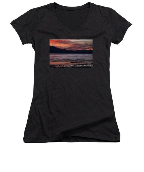 Women's V-Neck T-Shirt (Junior Cut) featuring the photograph The Color Of Dusk by Mitch Shindelbower