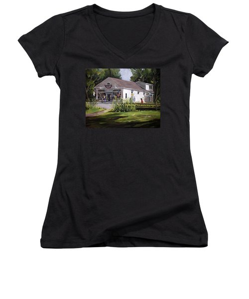 Women's V-Neck T-Shirt (Junior Cut) featuring the painting The Country Store by Nancy Griswold