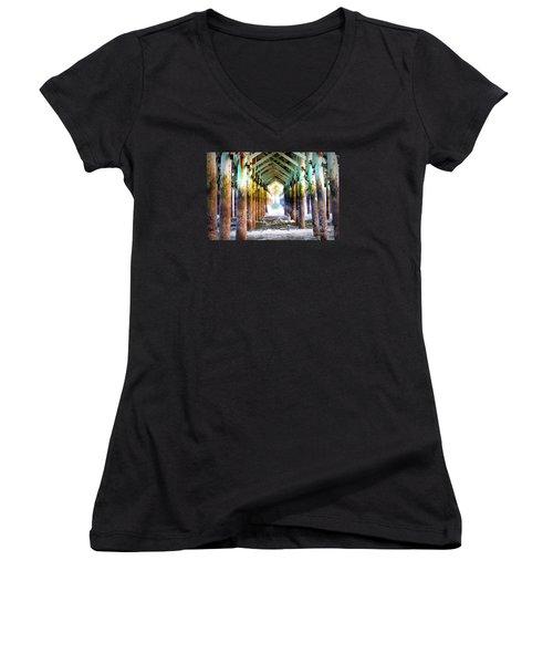 The Cross Before Us Women's V-Neck T-Shirt (Junior Cut) by Shelia Kempf