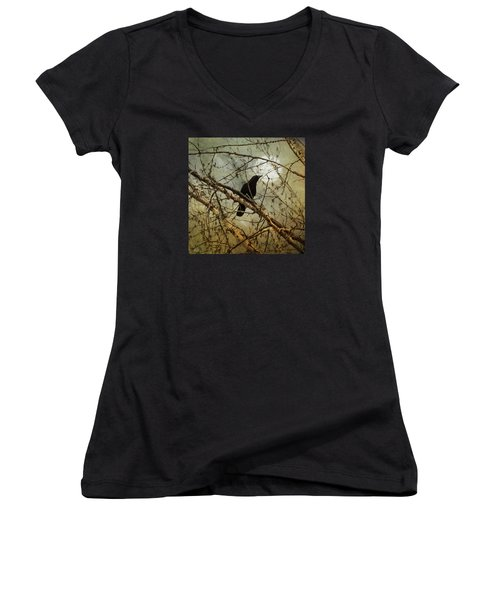 The Crow And The Moon Women's V-Neck T-Shirt (Junior Cut) by Theresa Tahara