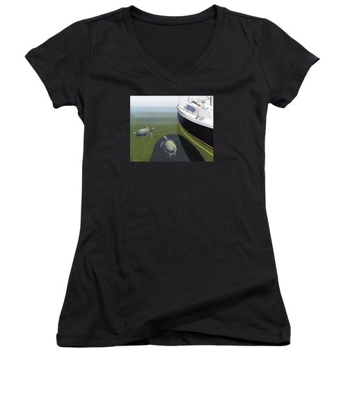 Women's V-Neck T-Shirt (Junior Cut) featuring the painting The Curiosity Of Sea Turtles by Gary Giacomelli