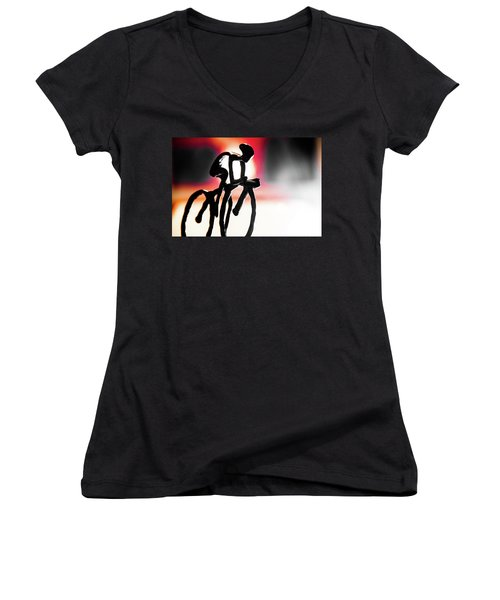 The Cycling Profile  Women's V-Neck T-Shirt (Junior Cut) by David Sutton