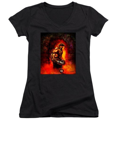 Women's V-Neck T-Shirt (Junior Cut) featuring the digital art The Devil's Henchman by Kim Gauge