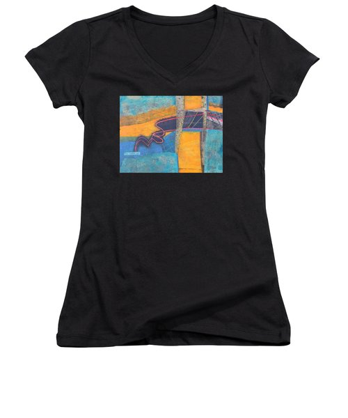 Women's V-Neck T-Shirt (Junior Cut) featuring the mixed media The Digital Age by Nancy Jolley