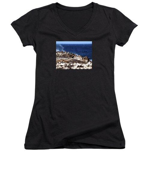 The Dragons Teeth II Women's V-Neck T-Shirt (Junior Cut) by Patricia Griffin Brett