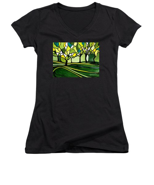 The Emerald Glass Forest Women's V-Neck (Athletic Fit)