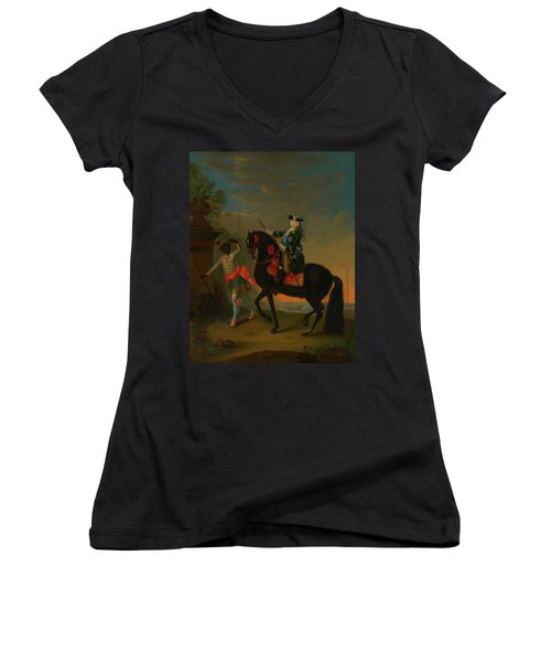 Women's V-Neck T-Shirt (Junior Cut) featuring the painting The Empress Elizabeth Of Russia by Georg Grooth