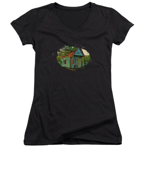 Women's V-Neck T-Shirt (Junior Cut) featuring the photograph The Enchanted Garden Shed by Thom Zehrfeld