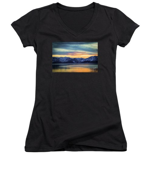 The Evening Colors Women's V-Neck T-Shirt (Junior Cut) by Mitch Shindelbower