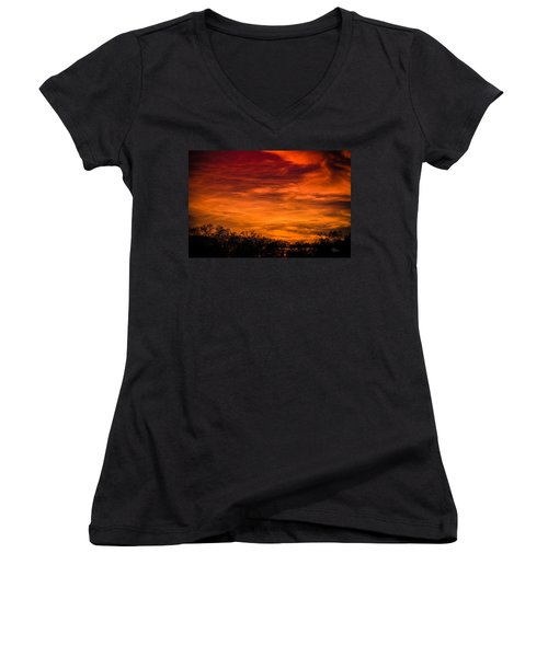 The Evening Sky Of Fire Women's V-Neck T-Shirt (Junior Cut) by David Collins