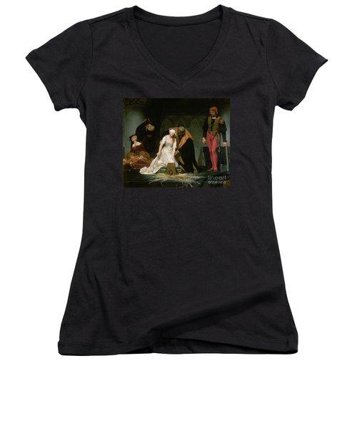 The Execution Of Lady Jane Grey Women's V-Neck T-Shirt (Junior Cut) by Hippolyte Delaroche
