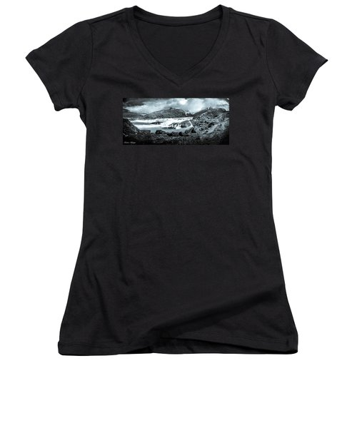 Women's V-Neck T-Shirt (Junior Cut) featuring the photograph The Falls In Black And White by Andrew Matwijec