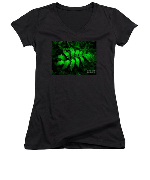 Women's V-Neck T-Shirt (Junior Cut) featuring the photograph The Fern by Elfriede Fulda