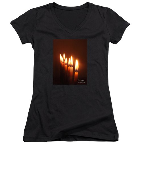 Women's V-Neck T-Shirt (Junior Cut) featuring the photograph The Festival Of Lights by Annemeet Hasidi- van der Leij