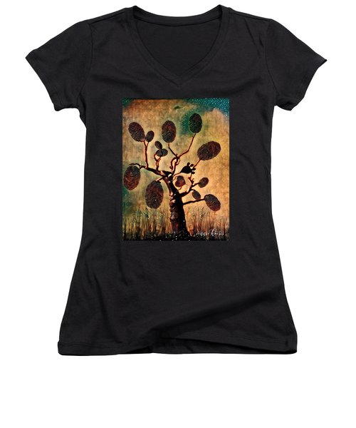 The Fingerprints Of Time Women's V-Neck T-Shirt (Junior Cut) by Vennie Kocsis