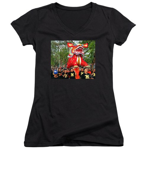 Women's V-Neck T-Shirt (Junior Cut) featuring the photograph The Fire Lion Procession In Southern Taiwan by Yali Shi