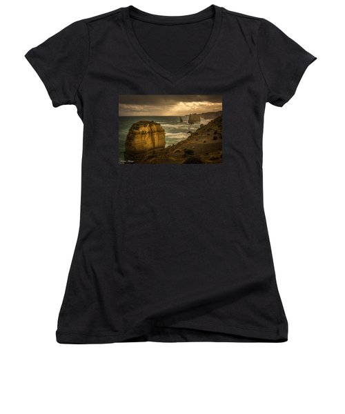 Women's V-Neck T-Shirt (Junior Cut) featuring the photograph The Fire Sky by Andrew Matwijec