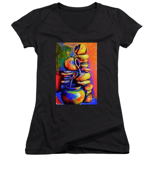 The Fountain Of Pots Women's V-Neck T-Shirt