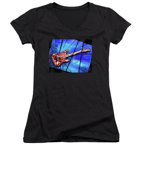 The Frankenstrat On Blue I Women's V-Neck T-Shirt (Junior Cut)