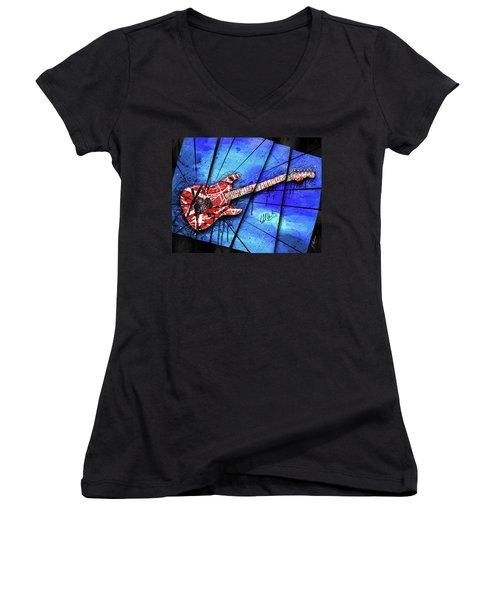 The Frankenstrat On Blue I Women's V-Neck T-Shirt