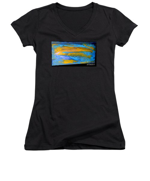 the GATOR in abstracr Women's V-Neck (Athletic Fit)