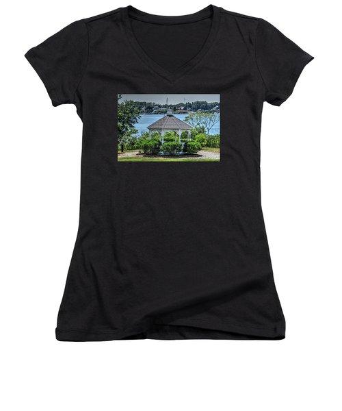 Women's V-Neck T-Shirt (Junior Cut) featuring the photograph The Gazebo by Tom Prendergast