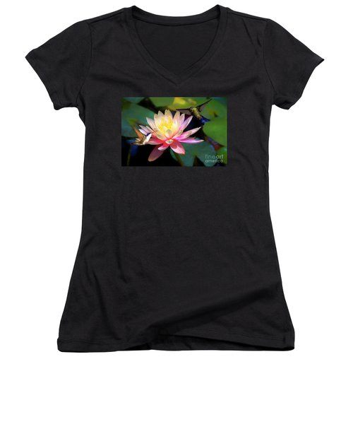 The Grutas Water Lillie With Hummingbirds Women's V-Neck T-Shirt (Junior Cut) by John Kolenberg