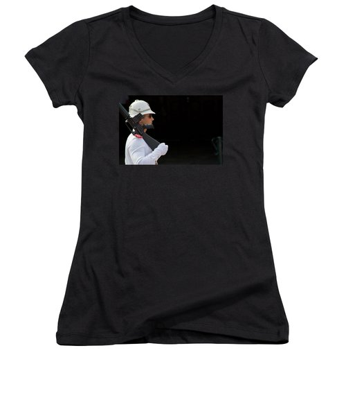 Women's V-Neck T-Shirt (Junior Cut) featuring the photograph The Guard by Keith Armstrong