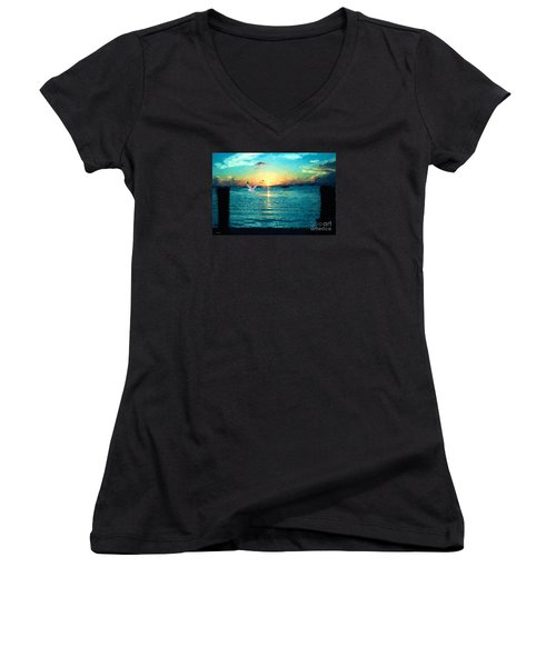 Women's V-Neck T-Shirt (Junior Cut) featuring the painting The Gull by Judy Kay