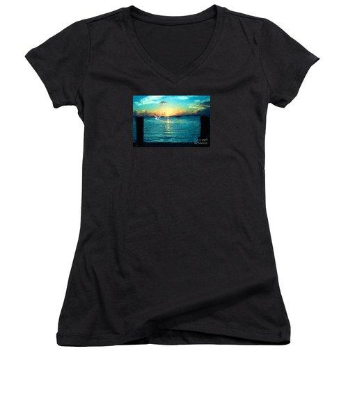 The Gull Women's V-Neck T-Shirt (Junior Cut) by Judy Kay