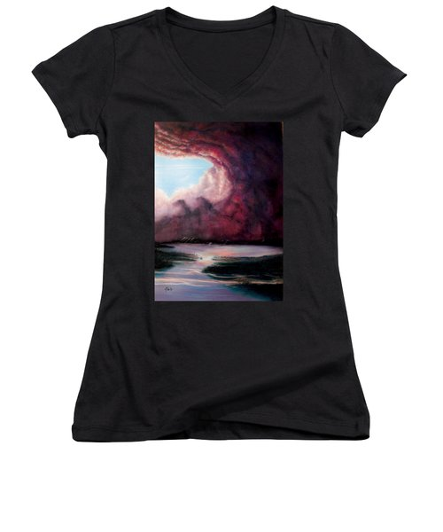 Women's V-Neck T-Shirt (Junior Cut) featuring the painting The Hansbach by Albert Puskaric